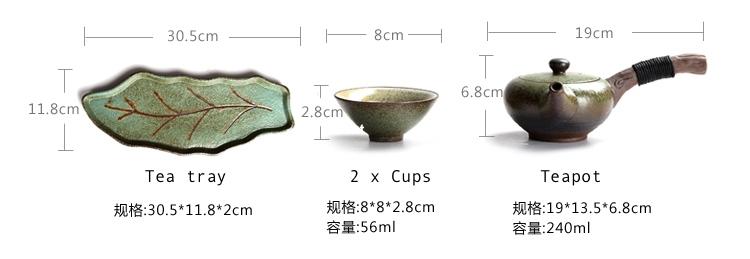 ceramic tea set leaf tray