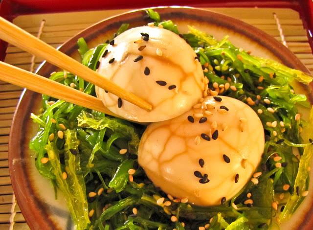 chinese tea eggs seasoned with seaweed